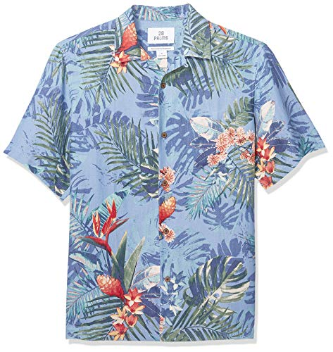 Marca Amazon - 28 Palms - Camisa seda lino corte holgado