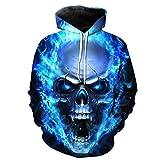 LHWY Shirt Herren, Unisex Printed Skull Pullover Hoodies Frauen Männer Paare Shirt Winter Langarm Kapuzen Sweatshirt Tops Bluse 3D Visual Design Größe S-3XL (L, Blau)