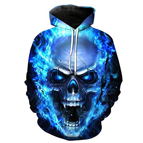 Shirt Herren, LHWY Unisex Printed Skull Pullover Hoodies Frauen Männer Paare Shirt Winter Langarm Kapuzen Sweatshirt Tops Bluse 3D Visual Design Größe S-3XL (2XL, Blau) (Mädchen T-shirt Blau Licht)