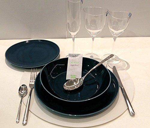 ROSENTHAL JUNTO SET 18 PCS (6 DINNER PLATES cm 27 OCEAN BLUE + 6 DEEP PLATTE I OCEAN BLUE + 6 DESSERT PLATE STRATEGREY cm 22 dark ceramic)