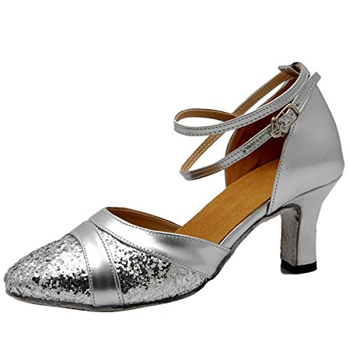 Oasap Women's Pointed Toe Sequins Cross Ankle Strap Dance Shoes Silver