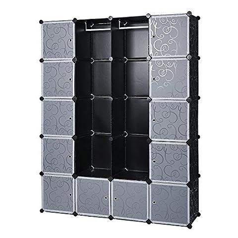 Songmics Armoire Penderie Cubes/étagère de rangement modulables plastiques imprimé cadre en métal noir et blanc LPC30H