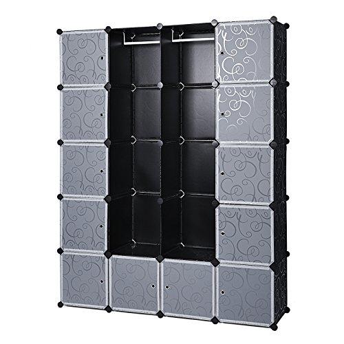 Songmics LPC30H Kleiderschrank Garderobenschrank Steckregalsystem mit 2 Kleiderstange, Plastik, schwarz, 180.0 x 145.0 x 37.0 cm
