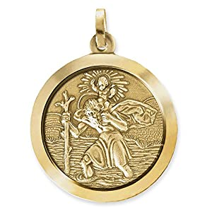 CLEVER SCHMUCK Goldener großer Anhänger rund Ø 24 mm Heiliger Christopherus 333 GOLD 8 KARAT im Etui