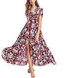 KUONUO Sommerkleider Damen Elegant Strandkleid Blumen Boho Split Lang V-Ausschnitt Beachwear Abendkleid Red L