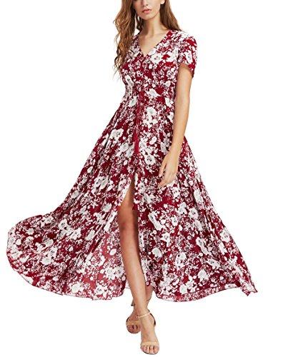 KUONUO Maxi Vestido de mujer Cóctel de las mujeres de Boho del partido de noche largo del vestido del verano de la playa vestido V-Cuello de tirantes