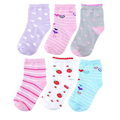TupTam Baby Mädchen Kinder Socken Bunt Gemustert 6er Pack, Farbe: Farbenmix, Socken Größe: 23-26