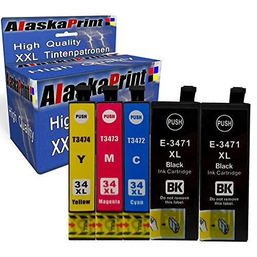 5X Druckerpatronen kompatibel für Epson 34 XL 34xl für Epson Workforce Pro WF-3720dwf WF-3725 WF-3725DWF WF-3720 Patronen Tintenpatronen Drucker -