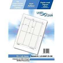 LabelOcean selbstklebende Universal-Etiketten, 50 Blatt/300 Etiketten, Format: 70 x 148,5 mm, 70g/qm, weiß, LO-0006-F-70-50
