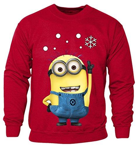 (New Kids Childrens Boys Girls Minions Cartoon Movie Character Christmas Sweatshirt Jumpers 2-14 years (Kids 3-4 Years) Red)