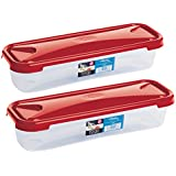 Wham Cuisine Long Rectangular Food Storage Plastic Box Container, 1.2 Litre, 2 Pcs Set, Red