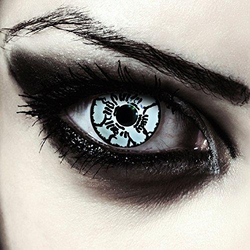 Weiße farbige Monster Kontaktlinsen für Halloween Farblinsen in weiß Model: