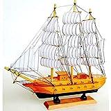 Générique Barco de Vela Velero Goleta de Madera 31cm Estilo Antiguo Barco Sandmännchen Sobre Sonido Socle.