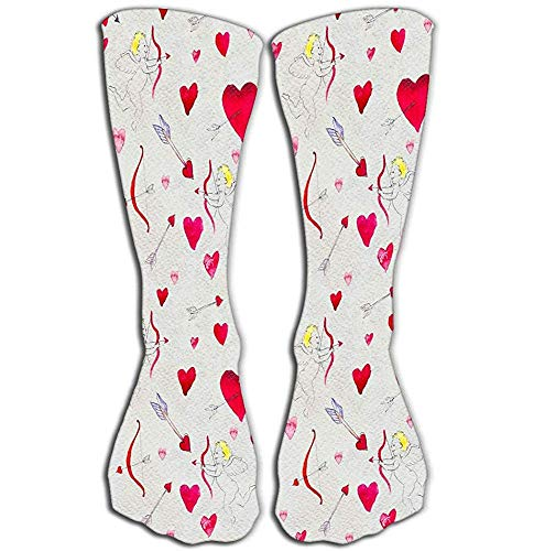 Mujeres Deporte Medias Altas Novedad Calcetines 50 CM Feliz Día de San Valentín Corazones rojos Cupido Arco Flecha Flechas Amor Valent