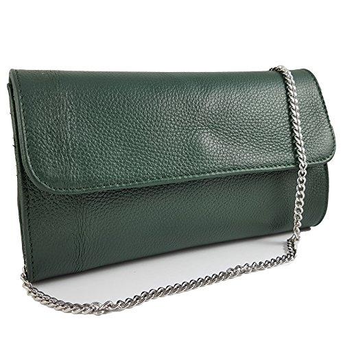 Freyday Echtleder Damen Clutch Tasche Abendtasche Muster Metallic 25x15cm (Grün) - Grün Leder-clutch