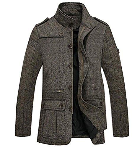 Brinny Herbst und Winter Herren Slim Warm Mantel Wolle Mischung Trenchcoat Jacken (EU M/Asia 2XL, Grau D)