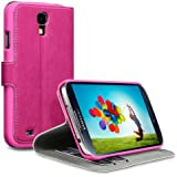 Samsung Galaxy S4 i9500 Low Profile Covert Branded PU Leather Wallet Case / Cover / Pouch / Holster - Hot Pink