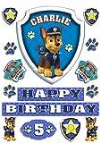 Die besten Paw Patrol 1. Geburtstags-Geschenke für Jungen - essbar personalisierbar Paw Patrol Chase Badge Tortenaufleger Happy Bewertungen