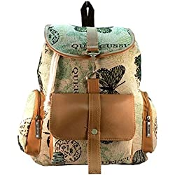Deal Especial Brown big size Stylish girls collage canvas backpack gifts & sale