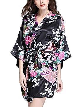 Keland Donna Vetaglie Pigiama Kimono Camicia da Notte Cintura Indumenti Dress Flare Manica Lunga Sleepwear Nightwear...