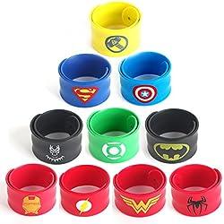 LAOZHOU 10 Unidades Superhéroes Pulseras para Niños y Niñas Cumpleaños Suministros de Fiesta