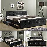 Luxusbett Phoenix Schwarz Doppelbett Polsterbett mit 4 Bettkasten Bett Lattenrost Kunstleder (160cm x 200cm)