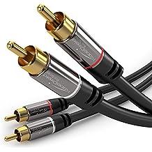 KabelDirekt Cable RCA Coaxial - 3m Audio Estéreo Digital, 2 Conector RCA Macho a 2 Conectores RCA Macho, Cable Subwoofer, PRO Series adecuado para cine en casa y alta fidelidad