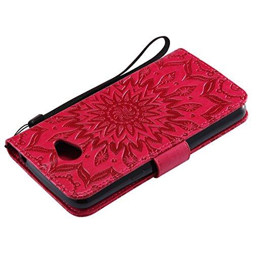 Custodia LG K5 ISAKEN Cover LG K5 con Strap, Elegante borsa Dente di leone Design in Pelle Sintetica Ecopelle PU Case Cover Protettiva Flip Portafoglio Case Cover Protezione Caso con Supporto di Stand girasole: rossa