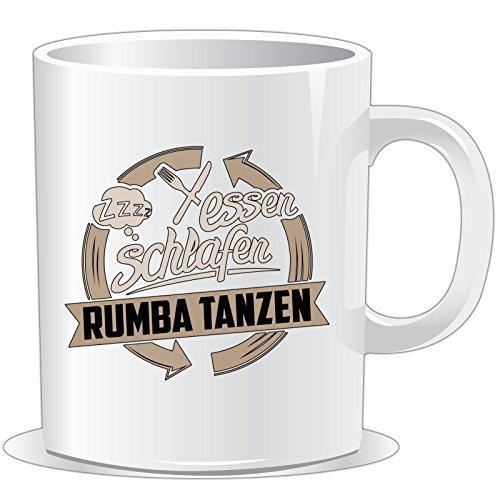 getshirts - RAHMENLOS® Geschenke - Tasse - Essen - Schlafen - Rumba tanzen - uni uni -