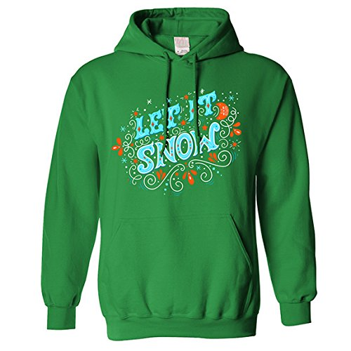 The T-Shirt Factory Herren-Weihnachtskapuzenpulli Let It Snow (M) (Grün)
