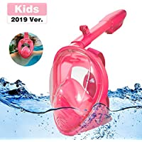 Jiqu Full Face Snorkel Mask 180° Seaview Easy Breathing Snorkeling Masks for Kids Anti-Fog Anti-Leak Safety Diving with Detachable Action Camera Mount …