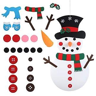 LANMOK 1pcs muñeco de Nieve de Fieltro DIY, Felt Snowman Navidad con 26pcs Ornamentos Desmontables Fiesta Niños Regalos Colgantes Infantiles Juego Interactivo para Padres e Hijos Decoración Pared