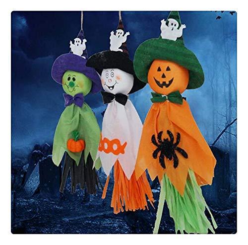 Z-one 1 Hängende Spinne, Kürbis, Fledermaus, niedliche Stoffpuppe, Hexe, Hexenkleid, für Halloween, Dekorationen, Bar, (Beängstigend Hexe Maske)