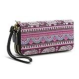 Geldtasche Damen Geldbörse Reißverschluss-Brieftaschen groß Kapazität Canvas Geldbeutel Tasche Damen Portemonnaie - Mescara (Elefant-Lila)