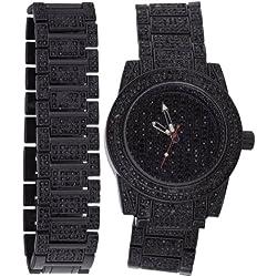 High Quality BLING MASTER FULL ICED Watch + Bracelet black
