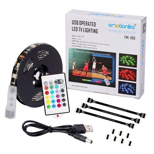 Foto de Emotionlite Cinta de Iluminación de Sesgo de Cinta de Contraluz de TV de LED RGB de Multi-color Encendido por El Color de la Cinta es Cambiado con el Control Remoto de 24 Teclas para la LCD HDTV de Pantalla Plana Desde 32