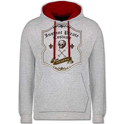 Shirtracer Piraten & Totenkopf - Instant Pirate Costume - Just add Rum - XL - Grau meliert/Rot - JH003 - Kontrast ()