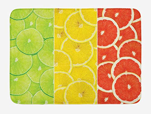 MSGDF Fruits Bath Mat, Citrus Slices Close up Studio Photography Grapefruit Portion Sweet Health, Plush Bathroom Decor Mat with Non Slip Backing, 23.6 W X 15.7 W Inches, Orange Lime Green Red -