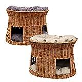 GalaDis 2-21-6 Große Katzenhöhle XXL (75 x 55 x 53 cm) aus Weide mit Zwei Kissen/Katzenkorb / Katzenbett für eine oder Zwei Katzen/Katzenturm auch f. Maine Coon & Co.