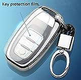 YUWATON Auto Key Cover Schlüssel Fall Auto-Fernbedienung für Audi A4L/A5/A6/A7/A8/Q5/Q7, TPU Key Cover Schlüssel Fall Schlüssel Kette Schlüsselanhänger Silber