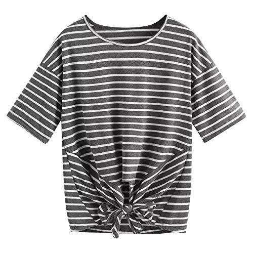Lonshell Damen Gestreiftes Bauchfrei T-Shirt, Sommer Kurzarm Crop Tops Teenager Mädchen Sport Oberteile Bluse Rundhals Casual Hemd Pullover