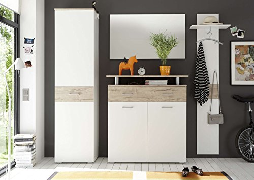 Avanti trendstore - lilo - guardaroba completo in quercia san remo / bianco d'imitazione, lap ca. 230x197x38 cm