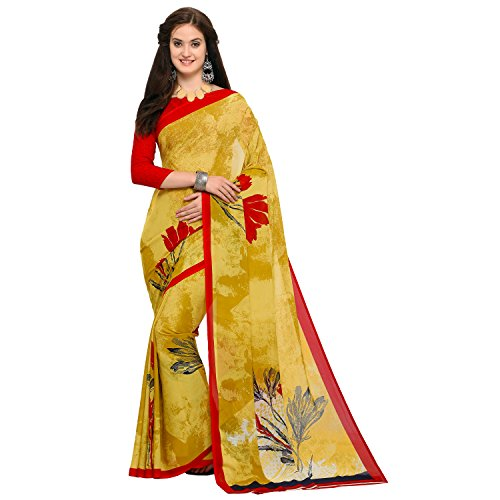 Oomph! Women's Abstract Georgette Printed Sarees - Tuscansun Yellow