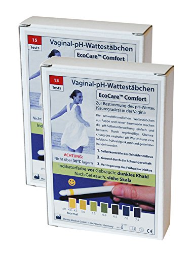 2 x 15 Stück Vaginal pH Wattestäbchen Ecocare Comfort (Vaginale Bakterielle Infektionen)