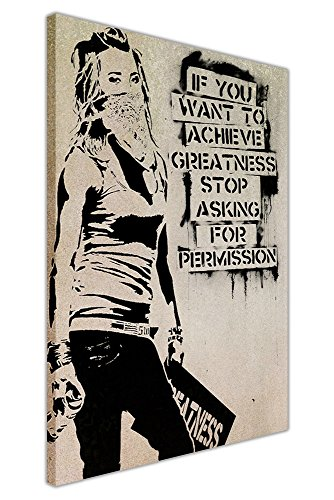 CANVAS IT UP Inspirierende Banksy Zitat erreichen, Größe Maskiert Girl Graffiti Art Prints Leinwand Art Wand Bilder Größe: 101,6x 76,2cm (101x 76cm)