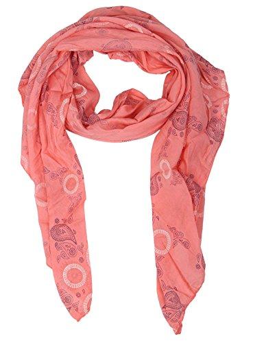 Zwillingsherz Seiden-Tuch für Damen Paisley Muster - Made in Italy - Eleganter Sommer-Schal für Frauen - Hochwertiges Seidentuch/Seidenschal - Halstuch und Chiffon-Stola Dezentes Muster koralle