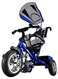 Kiddo Blue Smart New Design 4-in-1 Childrens Tricycle Kids Trike 3 Wheel Bike Parent Toddler Trike New – Blue