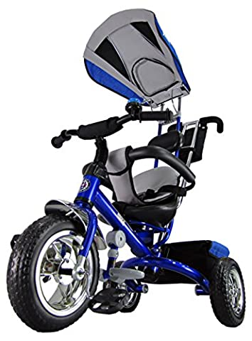Kiddo Blue Smart New Design 4-in-1 Childrens Tricycle Kids Trike 3 Wheel Bike Parent Toddler Trike New - Blue