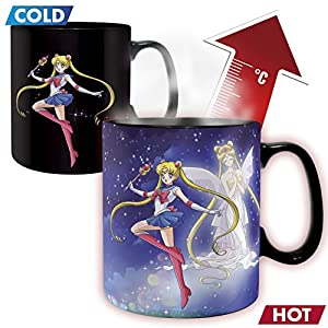 ABYstyle - SAILOR MOON - Taza cambia color con calor - 460 ml - Sailor moon y Chibi moon