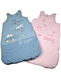 Fabulous 2.5 Tog Blue Cotton Sleepbag With Appliqued Car Design 0-6 mths